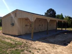 12x48 Shedrow style horse barn with 8' overhang. 4 - 12x12 stalls. PERFECT for those with just a few horses or small acreage.