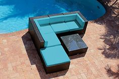 6 Piece Outdoor Patio Furniture Modern Sofa Couch Sectional Modular Set  AKOYA Wicker Collection Turquoise * Click image for more details.(This is an Amazon affiliate link and I receive a commission for the sales)
