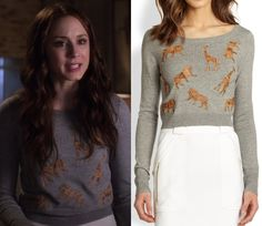 "Spencer's animal applique sweater from ""Thrown from the Ride"". Diane von Furstenberg Praia Leather Animal Applique Sweater..."