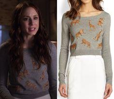 """Spencer's animal applique sweater from """"Thrown from the Ride"""". Diane von Furstenberg Praia Leather Animal Applique Sweater..."""