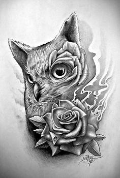 owl sugar skull tattoo - Google Search
