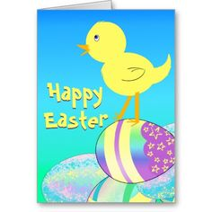 Yellow Chick with Pastel Eggs HAPPY EASTER Greeting Card