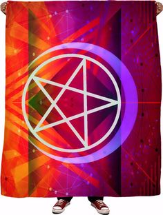 This super soft fleece blanket features a neon, geometric design with Spellcraft VH's logo in the center and is a part of Spellcraft's popular fashion collectio