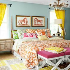 Colorful bedroom via Queen of Chairs