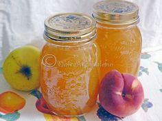 Marmellata di mele e pesche bianche, ricetta base. Apple jam and white peaches, basic recipe.