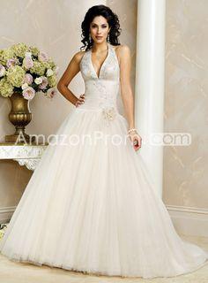 Organza Halter Wedding Dresses Ball Sweeping Train