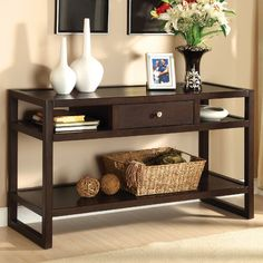 Furniture of America Hilda Blaine Espresso Sofa Table Brown Transitional Modern Sofa Table With Storage, Sofa Table With Drawers, Sofa Table Decor, Wood Sofa Table, Sofa End Tables, Table Decorations, Console Tables, Entryway Decor, Entryway Tables