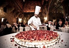 Mille Foglie (Italian wedding cake with chantilly cream & strawberries, chef prepares in front of guests)