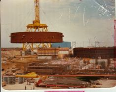 """Clinton Power Station containment ring lift by """"Big Red"""" a Manitowoc ringer crane."""