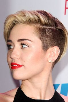 Miley Cyrus Straight Light Brown Side Part, Undercut Hairstyle | Steal Her Style