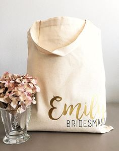 Custom tote bags-Tote bag- Personalized tote bag- Name and title tote bag- Bridesmaid gifts