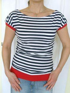 Pruhované tričko...vel.S - XXL...s červenou...