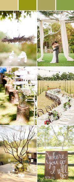 elegant moss green rustic wedding color ideas