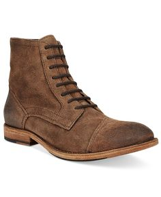 Rustic and traditional, these high-cut leather boots from Frye open the door to upscale casual fashion.   Leather upper; rubber sole   Imported   Cap toe   Lace-up closure with metal eyelets   Sizes m