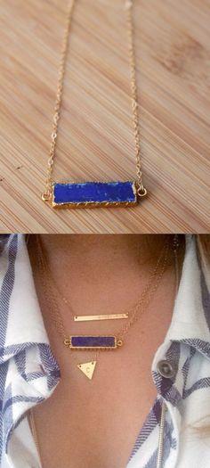 lapis lazuli bar necklace