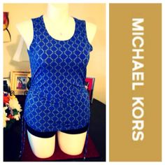 """Michael Kors Blue Sleeveless Top SZ Med. NWOT chain link design - gathers on the sides & has drawstrings that can be adjusted to how much """"cinching"""" you want. Stretchy material (polyester/spandex) no trades P42L Michael Kors Tops"""