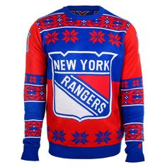 New York Rangers Big Logo Ugly Crew Neck Sweater from UglyTeams