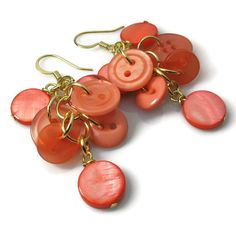 Coral Earrings, Button Earrings. $9.00, via Etsy.