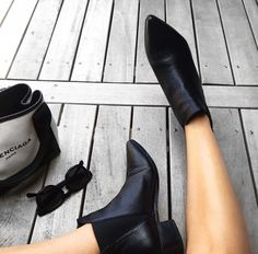 Simple black booties all year round