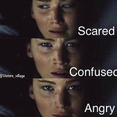 First pic: Scared, devestated, hoplessness Second pic:Confusion, too much emotion and no idea how to handle it all Third: Essentially determination, anger, she is going to make Snow pay for everything he has taken away from her.