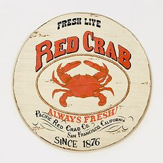 Round Red Crab Sign   Wall Art and Decor  Home Decor   World Market