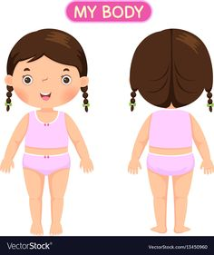 A girl showing parts of the body Royalty Free Vector Image Body Parts Preschool, All About Me Preschool, Drawing Lessons For Kids, Diy Quiet Books, Diy Back To School, School Clipart, Clinic Design, Kids Ride On, Kids Hands