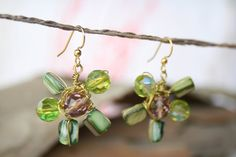 Green Flower Earrings Gold Wire Wrapped dangling by YLOjewelry