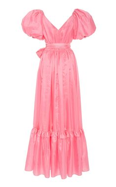 LoveShackFancy's 'Ida' gown is cut from bright fuchsia taffeta into a flattering wrap-style silhouette. Girly Outfits, Chic Outfits, Fashion Outfits, Women's Fashion, Stage Outfits, Crepe Dress, African Fashion, Vintage Dresses, Cold Shoulder Dress