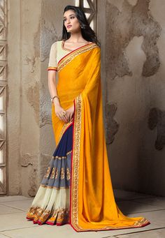 Golden Orange Faux Crepe Jacquard and Faux Georgette Saree with Blouse
