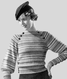 Vintage pullover and beret pattern