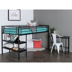 Maximize space in any bedroom with this space-saving loft bed set. The loft bed has two shelves integrated into the frame and provides additional storage space underneath. A matching desk is included; it stows perfectly under the bed when not in use. Low Loft Beds, Modern Bunk Beds, Twin Bunk Beds, Kid Beds, Lofted Beds, Modern Bedrooms, Modern Loft, Modern Contemporary, Mdf Shelving