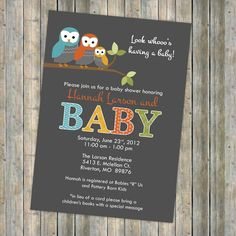 These are so cute!! Now who can I throw a baby shower for...?  Mod owl baby shower invitations.  Digital, Printable file $13.00, via Etsy.
