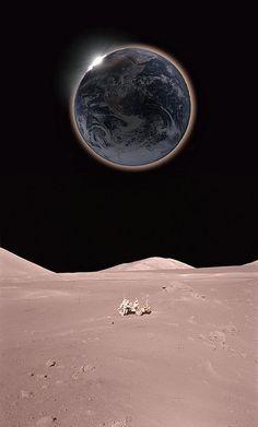 Solar eclipse from the Moon by Hana Gartsteinjpg