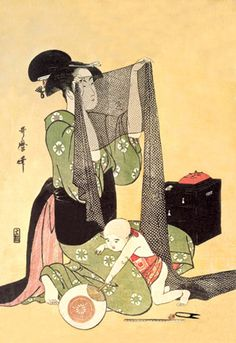 Japanese Mother and Child, by Utamaro