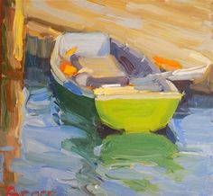 "Daily Paintworks - ""Who Owns This Boat"" - Original Fine Art for Sale - © Rita Brace"