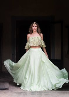 Buy light pale green with blest resham work party wear lehenga choli online.This set is features a light pale green blouse in net with embroidery work fully embellished with crystal, embroidery and sequins work.It has matching light pale green lehenga in Indian Dresses, Indian Outfits, For Elise, Lehenga Choli Online, Lehenga Designs, Indian Designer Wear, Bridal Lehenga, Traditional Dresses, Rock