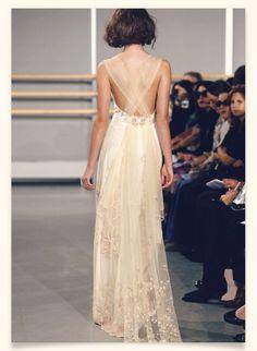 sheer back cross-over / lace / wedding dress
