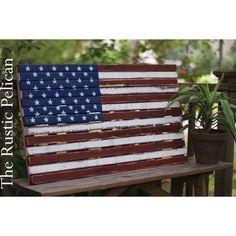 Farmhouse American Flag ($120) via Polyvore featuring home, furniture, storage & shelves, american flag, american flag furniture, country style furniture, country home furniture, handpainted furniture and country furniture