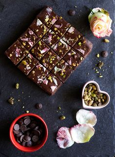 candied rose + pistachio brownies