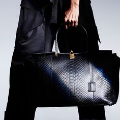 Large India Bag in black matte python with signature gold padlock hardware. #TOMFORD #TFWSS16