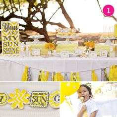 {Party of You Are My Sunshine, Away We Go!, Graduation Celebration, Paint Birthday & Safari Party // Hostess with the Mostess® Sunshine Birthday Parties, First Birthday Parties, Birthday Party Themes, First Birthdays, Birthday Ideas, Safari Party, Yellow Birthday, Baby Birthday, Baby Party