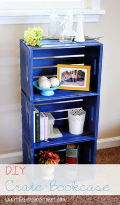 Easy and inexpensive shelf idea! Cobalt Crate Book Case Project at www.thebensonstreet.com #crates #cobaltblue #DIY
