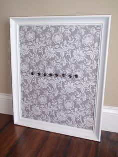 framed magnetic bulletin board photo or picture display nursery decor gray u0026 white floral fabric white frame eight jewel magnets