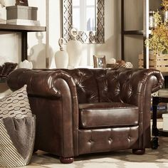 HOME Knightsbridge Brown Bonded Leather Tufted Scroll Arm...