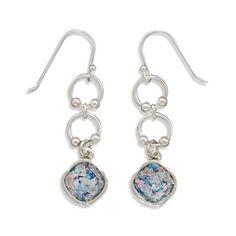 Sterling Silver Authentic Roman Glass Holy Land Hope Dangle Earrings
