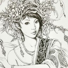 Výsledek obrázku pro SERENE by Nicholas F. Blank Coloring Pages, Free Adult Coloring Pages, Coloring Books, Realistic Drawings, Art Drawings, Geisha, Colorful Pictures, Creative Art, Line Art