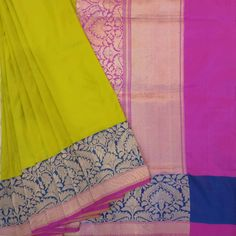 Authentic mehandi green coloured banarasi silk saree with plain base and blue, pink combination zari border. #banarasi #saree #madhurya #green