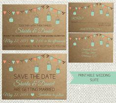 Printable, Wedding Invitation, Rustic Mason Jar Style, Custom Wedding Save the Date