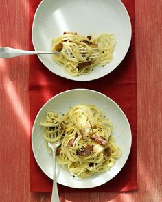 Spaghetti Carbonara:  I think I'll try this using fat-free half and half...plus turkey bacon in place of pork bacon.