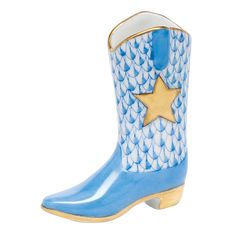 """Herend Hand Painted Porcelain Figurine """"Cowboy Boot"""" Blue Fishnet Gold Accents."""